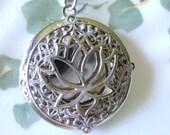 Lotus Flower, Locket, Silver Locket, Silver Lotus Necklace, Silver Lotus Pendant, Buddha Jewelry, Lotus Flower Jewelry,Asian Jewelry,Lockets