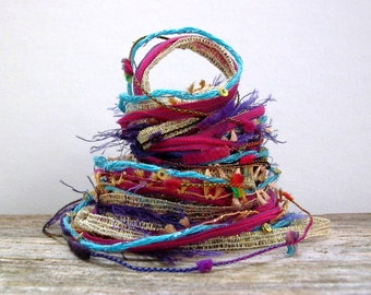 gypsy queen fiber effects™  art yarn bundle specialty ribbons fibers embellishments 12yds mixed yarn pack  . magenta blue violet gold