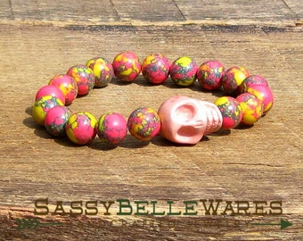 Pink Howlite Skull with Synthetic Jasper Beads Bracelet Choose plain or Swarovski crystal eyes rocker girl glam Gasparilla pirate yellow