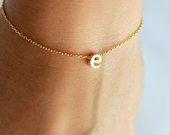 Initial Bracelet Lowercase - Gold Silver Rose Gold Letter Bracelet Custom Bridesmaid Gift Personalized Wedding Minimalist Monogram