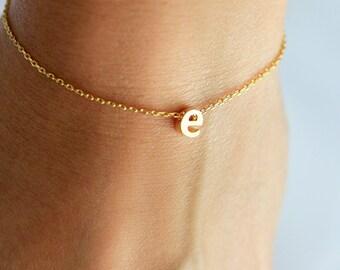 Initial Bracelet Lowercase - Gold Silver Rose Gold Letter Bracelet Custom Bridesmaid Gift Personalized Wedding Minimalist Monogram