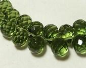 Faceted Teardrop Green Briolette Pendant Drop, 13x13mm. Glass Quartz Gemstone. Packet of 2 Teardrops. (75qz4) - SALE - WAS 3.50