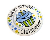"7"" or 10"" KILN FIRED Happy Birthday candle cupcake personalized Plate custom ceramic"