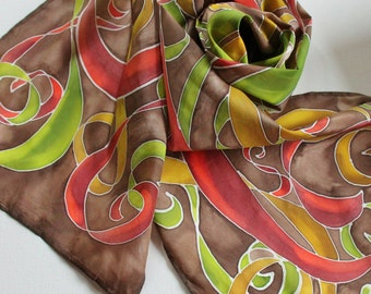 Hand Painted Silk Scarf - Handpainted Scarves Rust Burnt Orange Olive Green Avocado Chocolate Brown Mustard Yellow Gold Fall Autumn Warm
