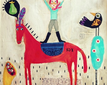Folk Art Circus Horse Mixed Media