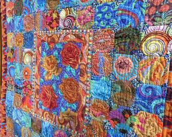 Snowball Garden Medley Quilt-Made with Kaffe Fassett Fabrics