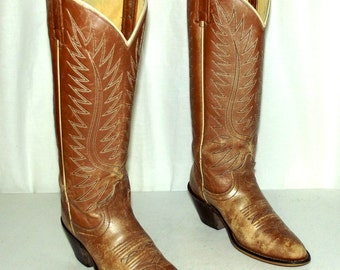 Vintage Acme Tan Gold Distressed Cowboy boots womens size 5.5 C wide width western cowgirl boho hippie gypsy