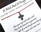 A Wish And A Prayer - Wish Bracelet With Ornate Cross Charm - Shown In CHERRY - Over 100 Different Colors Available