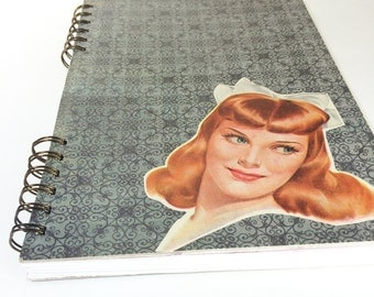 Vintage Image Upcycled notebook - Saucy redhead - SALE!!