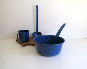 Vintage Enamelware Blue Spatterware Sauce Pot Cup with Handle Ladle Camping Farmhouse Decor