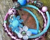 Flower Memory Wire Bracelet, Boho Style Bracelet, Beaded multi Row Bracelet, Featured in Jewelry Affaire Magazine, Free Shipping USA -