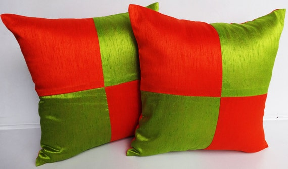 Lime green and Orange art silk cushion cover  and throw pillow. Decorative festive pillow. 18 inch