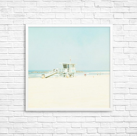 California Photography, Santa Monica, Beach Art, Ocean, Sand, Soft, Blue, Fpoe, Summer - Beach Side  Fine Art Print