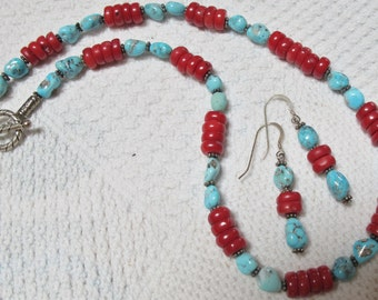 Turquoise/Red Coral Perfect Neckace & Earring Set