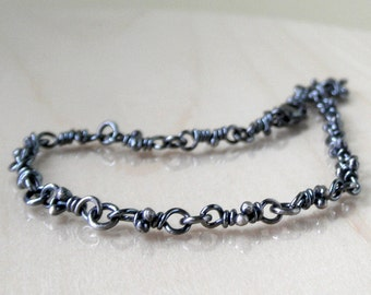 Sterling Silver Knots Bitsy Bracelet, Dark Finish, Rustic Knot Links. Organic Linked Handmade Chain, Dainty Boho Bracelets, Aroluna
