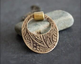 Etched Gold Brass Tribal Pendant Necklace Black Oxidized Patina Oval Rivet Boho Bohemian Jewelry