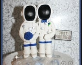 Astronot Bride & Groom Wedding Cake Topper, Personalized