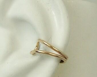 Ear Cuff Gold Non-pierced Cartilage Wrap Earring Fake Conch No Piercing Cuff Earring Simple Earcuff Faux Pierced Double Round EDRWGF