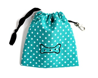 Bone Print Dog Treat Pouch - Turquoise Star