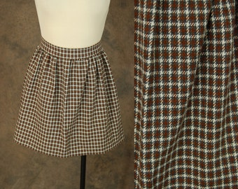CLEARANCE Sale vintage 60s Mini Skirt - 1960s Brown and Gray Plaid Wool Pencil Skirt Sz XS