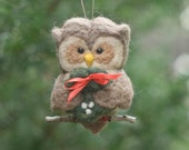 Needle Felted Owl Ornament - Holding Wreath