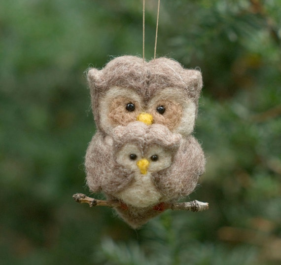 Needle Felted Owl Ornament - Family of Two