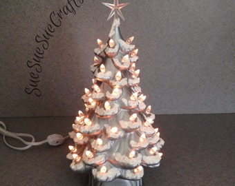 RETRO Silver Christmas TREE 13 inches with snow - 25th Silver Wedding anniversary  lighted tree