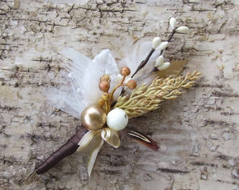 Ivory & Gold Fall Berry Boutonniere for your Wedding
