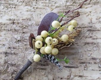 Ivory Fall Berry Boutonniere for your Wedding with Feathers & Twigs