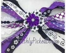 Soccer Streamer Pony O black purple white Bow