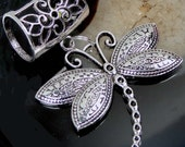 Scarf Pendant Silver Pewter Dragonfly Slide  (e7447)