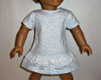 18 inch Doll Dress, Blue Cotton Ruffled T- Shirt Dress, American Made, Girl Doll Clothes, Modern Style, Short Sleeve