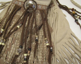 BoHo Ivory Fringe Cross Body Bag
