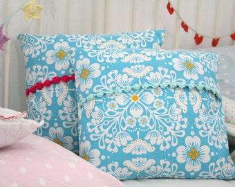 Aqua and white Boho Pillow Cover - pom pom crochet fringe pad Included