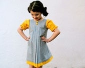Girls Dress- As Seen in Dilla Magazine- Retro Style Yellow Gold and Gray with Box Pleats- Kids Fashion- Handmade Indie Kids Ethical