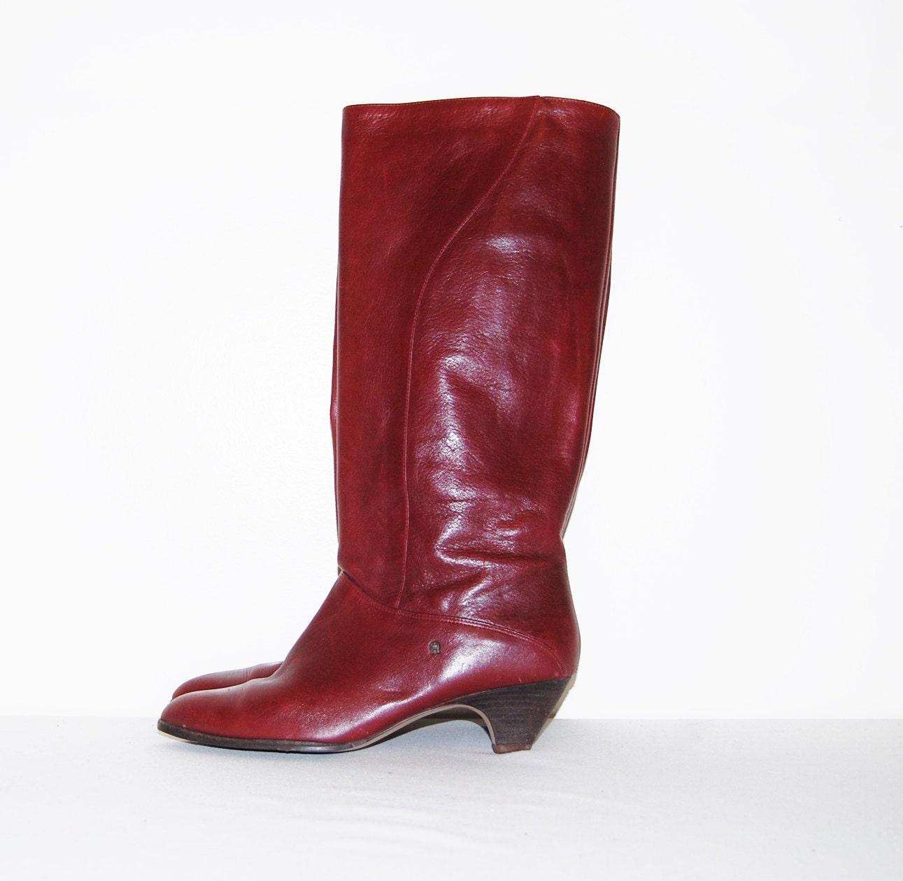 vintage boots etienne aigner oxblood leather