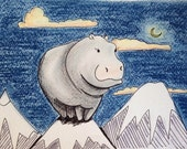 Wallace (black ink drawing of a hippo in an unexpected location, colored in with pastels)