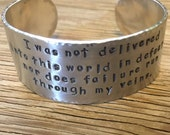 Hand stamped cuff bracelet 1 inch aluminum bracelet custom jewelry inspirational jewelry personalized cuff gift for her Christmas gift