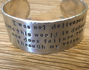 Hand stamped cuff bracelet 1 inch aluminum bracelet custom jewelry inspirational jewelry personalized cuff gift for her Valentines day gift