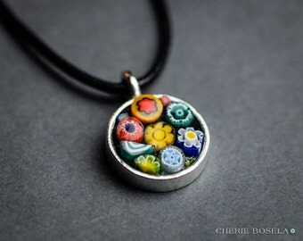 Abstract Mosaic - Wearable Art - Pendant Necklace