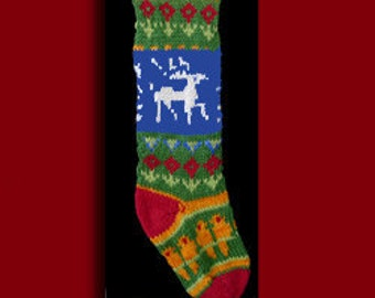 Hand knit Christmas stocking,  Personalized, made of pure wool yarn,  fully lined -- bird, flower and reindeer