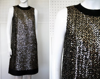 Metallic Silver and Hints of Gold Sequins with Black Satin Trim Vintage Shift Dress