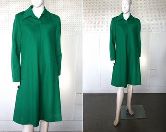 Emerald Green Vintage Heavy Polyester Free Flow Woman's Collared Long Sleeve Dress by Gregg Draddy