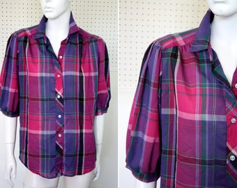 Cheryl Tiegs Vintage Pink and Purple Plaid Lightweight Short Sleeve Button Down Blouse