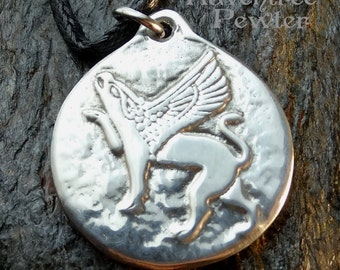 Griffin - Pewter Pendant -Gryphon or Griffon, Mythology Necklace