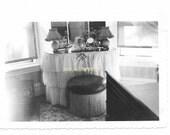 vintage photo Teen Girls Bedroom Dressing Table 1940s snapshot Woman Makeup