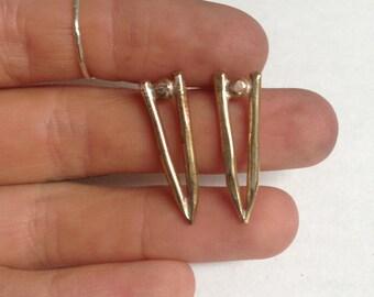 """Brass Spike Earrings (1"""")"""
