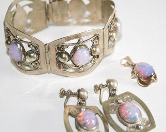 Faux Opal Alpaca Silver Earrings and Bracelet and Pendant