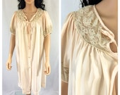 Vintage Pale Pink Peach Nightgown Robe. Barbizon. Cover Up. 1950s. Pink. Pastel. Short Robe. Wedding. Lace. Romantic Lace. Sheer. Lingerie.