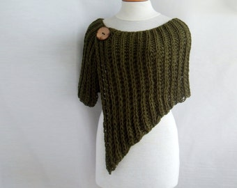 Knitted asymmetrical poncho wrap for autumn (color: army green)